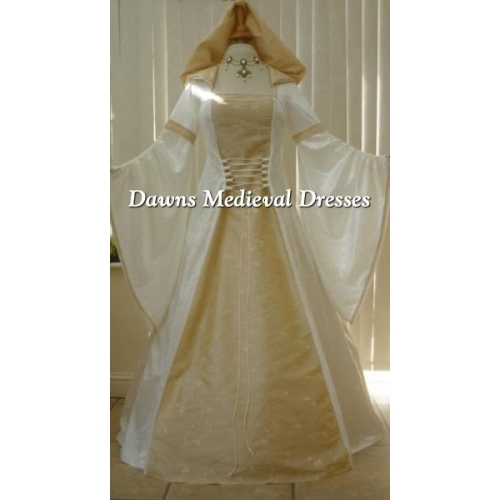 Medieval Renaissance Wedding Dress Cream & Champagne